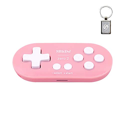 8Bitdo Zero 2 Bluetooth Wireless Gamepad for Nintendo Switch/Windows/Android/macOS/Raspberry Pi Controller Rosado con Llavero