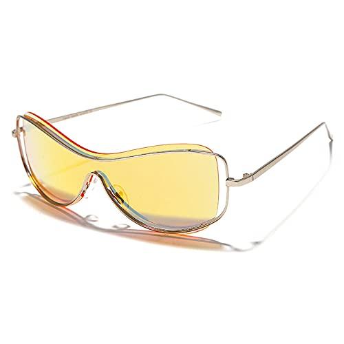 Powzz ornament Moda Goggle Punk Gafas de sol Mujeres Espejo Hombres Sombras Gafas sin montura Marcos de metal de lujo Una pieza Gafas femeninas únicas-4mirror_red_Universal