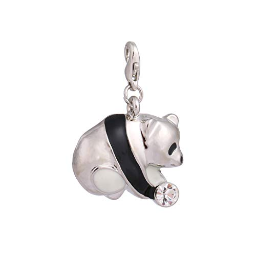 AKKi jewelry Charms Anhänger für Armband und Kette, Motiv Silber Dream Charm hänger,Edelstahl Zirkonia bettelarmband Halskette Herz karabiner-Verschluss Element Swarovski Crystal Antik