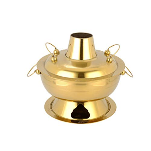 PDGJG Thick Stainless Steel Plated Copper Pot for Carbon Charcoal Fire Boiler Fondue Pot with Old Fashioned Chafing Dish