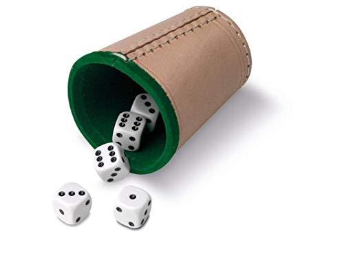 Cayro - Cubilete de Cuero y Dados - 5 Dados de Póker o 5 Dados de Puntos - 16 mm (Cubilete de Cuero y 5 Dados de Póker de 16 mm - 675)