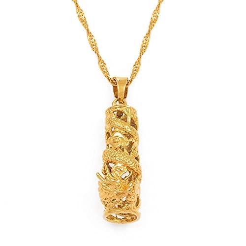 Collares Collar con colgante de dragón auspicioso, joyería para mujeres y niñas, adornos de mascota de color dorado, regalos, collares de la suerte, cadena fina de 60 cm