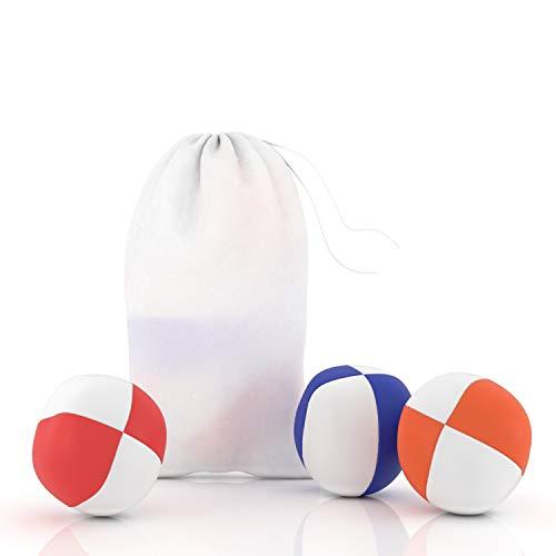 Blu-Cave Jonglierbälle für Kinder und Anfänger, Jonglierset aus Leder mit Stoffbeutel, Juggling Balls zum Jonglieren