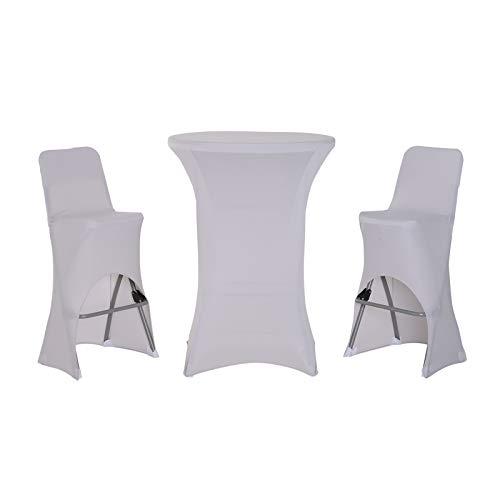 Outsunny Ensemble Table de Bar + 2 tabourets de Jardin Pliable métal époxy HDPE Housses x 3 incluses Gris Clair