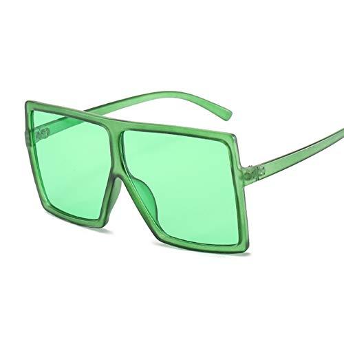 DNAMAZ Sombras de Gran tamaño Mujeres Gafas de Sol Rojas de Moda Cuadrada Gafas de Sol Grande Marco de Lujo Vintage Retro Gafas Unisex Oculos (Lenses Color : Green)