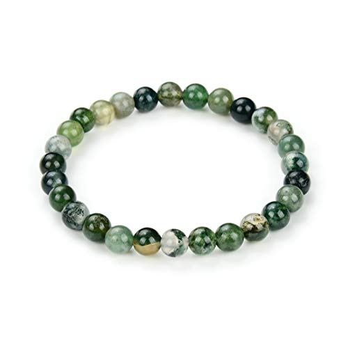 Natural Moss Agate Gemstone Bracelet 7 Inch Stretchy Chakra Gems Stones Healing Crystal Birthday Gifts GB6-A25
