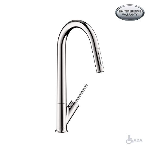 AXOR Starck Luxury Kitchen Sink Faucet with Pull Down Sprayer- Best Chrome Kitchen Faucet