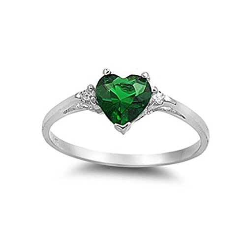Glitzs Jewels Sterling Silver Simulated Emerald and Cubic Zirconia Heart Ring, 7mm Choose Your Color