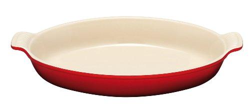 Le Creuset PG0400-2467 Heritage Stoneware Oval Au Gratin Dish, 1-Quart, Cerise