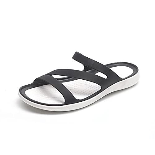 Señoras Zapatillas Plataforma Plano Tacón Bajo Sandalias De Punta Abierta Zapatillas De Punta Zapatos De Playa Casuales (Color : Black, Shoe Size : 6)