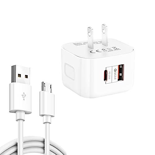 YSY-6087PD 20W PD3.0 + QC3.0 Cargador de viaje de carga rápida dual con USB a cable de datos micro USB, tamaño del enchufe: enchufe de EE. UU