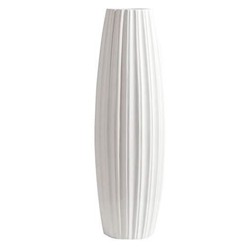 fanquare Jarrón de Piso Grande con Rayas Blancas Simples, Florero Decorativo Hecho a Mano, Jarrón Alto de Cerámica para Flor, Altura 45cm