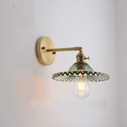 Wandlamp, licht luxe slaapkamer bedlampje badkamerspiegel voorlamp goudglas volledig koper kleine wandlamp