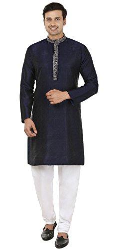 MapleClothing Jacquard-Seide Bestickt Herren Kurta Pyjama Indien Kleidung (Blau, S)