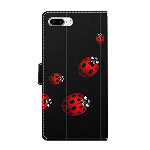 UZEUZA Funda tipo cartera para iPhone 7/8 Plus Ladybug Art Cartoon Phone Case con Kickstand, ranuras para tarjetas, cubierta con tapa para iPhone 7/8 Plus