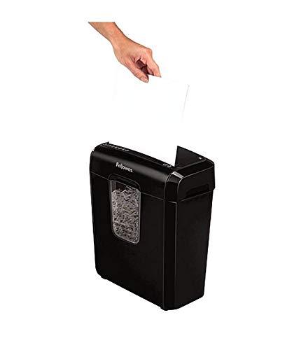 Destructora trituradora de papel, corte en partículas, 6 hojas, capacidad 11 L, color negro