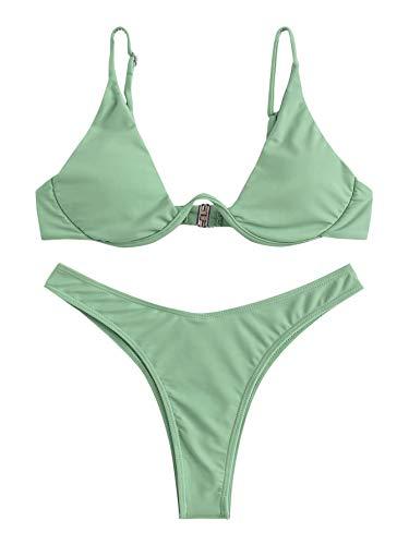 Verdusa Women's Sexy Triangle Bathing Two Pieces Swimsuit Bikini Set Mint Green S