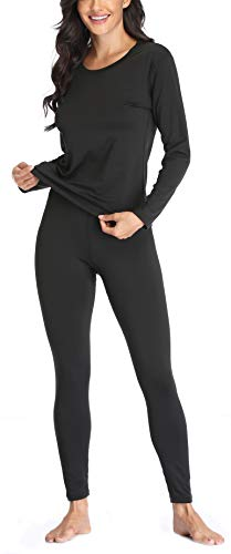 Women's Thermal Underwear Set, Fleece Lined Long Johns Set Base Layer Top & Bottom Lightweight Ultra Soft Black