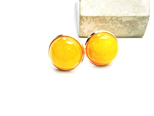 Ohrstecker Ohrringe gelbe Jade Rosegold vergoldet