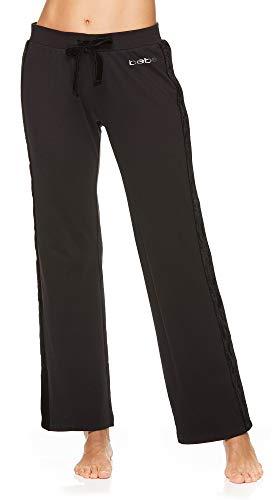 bebe Womens Pajama Pants Boothleg Elastic Waist Logo Printed Black Medium