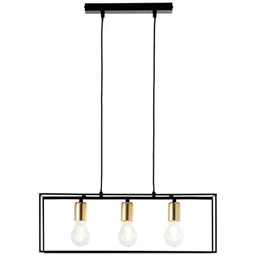 BRILLIANT lamp Arica, lámpara de suspensión 3 bombillas negro/latón |3x A60, E27, 60W, adecuado para lámparas normales (no incluidas) |Escala A ++ a E |El cable puede acortarse