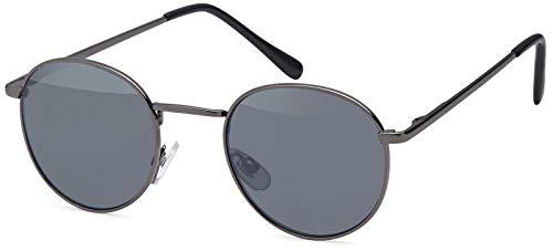 styleBREAKER Sonnenbrille in Panto-Form mit runden Flachgläsern und Metall Bügel, Unisex 09020077, Farbe:Gestell Anthrazit / Glas Grau getönt