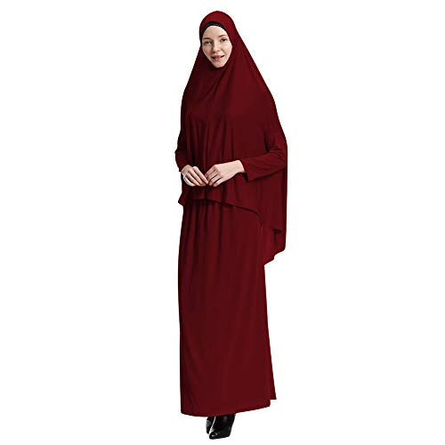 Yudesun Muslimische Kleider Islamische Kleidung - Damen Ganzkörperansicht Länge Hijab Robe Anzug Abaya Schal Gebet Kaftan Bademäntel Kleid,Wein Rot,XL