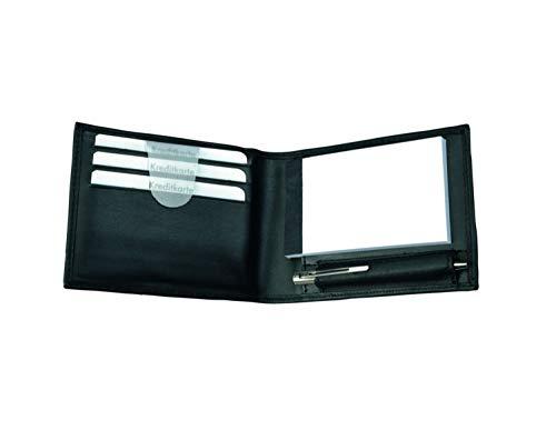 Alassio 43035 - notitieblok etui GUBBIO van nappaleder, mapje in zwart, etui ca. 11 x 8 x 2 cm, leren etui met A8 notitieblok, 3 inschuifvakken en mini-balpen metaal
