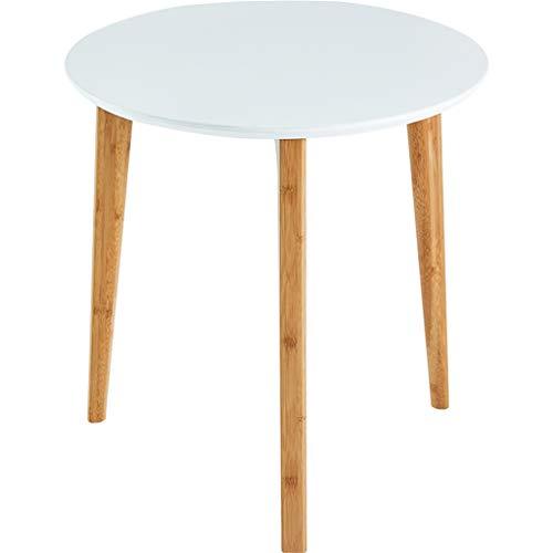 Sencilla de bambú Mesa/Mesa Auxiliar, Liso MDF Mesa, Patas de Mesa Soporte sólido, fácil de Limpiar y Mover, Conveniente for el Dormitorio de la Sala, Blanca