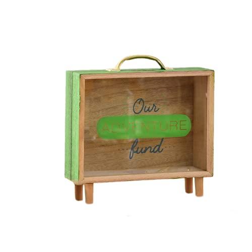 EasenHub Green Wooden LargeCapacity Piggy Bank, lindo tanque de almacenamiento lindo adornos de escritorio creativos para el niño