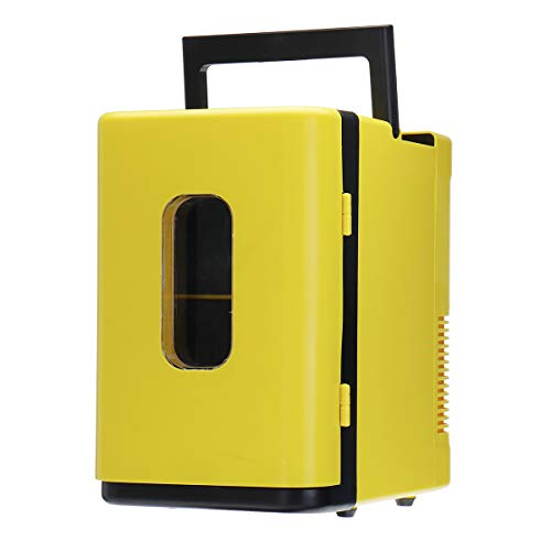 RENXR Mini Fridge 10L Beer Drinks Portable Small Fridge For Bedroom, Skincare, Office With Cooling And Warming Function AC/DC,Yellow