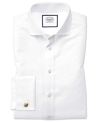 Charles Tyrwhitt Bügelfreies Twill Hemd mit Haifischkragen - Weiß Umschlagmanschette