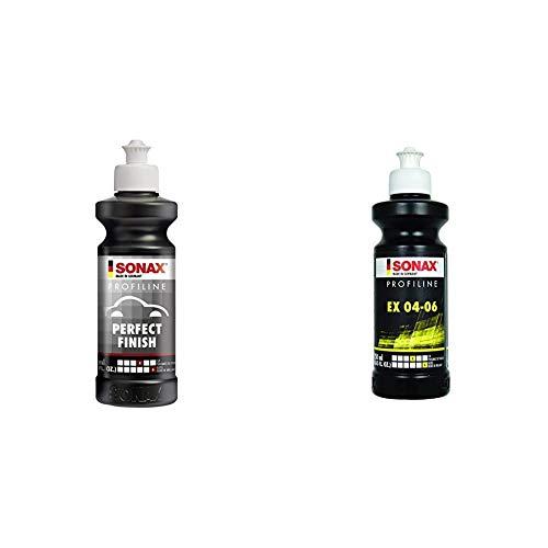 SONAX PROFILINE PerfectFinish (250 ml) zum 1-stufigen Polieren von lokal ausgeschliffenen Lackschäden wie Staubeinschlüssen oder Läufern & PROFILINE EX 04-06 (250ml) bringt optimale Kratzerentfernung