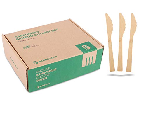 100% Bamboo Utensils - 400 Carbonized Knives Disposable Cutlery Biodegradable and Sanitized - Heavy...