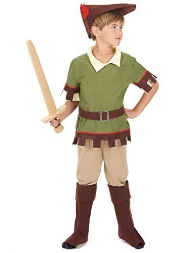 KULTFAKTOR GmbH Robin Hood Kinderkostüm Bogenschütze grün-braun 110/122 (4-6 Jahre)