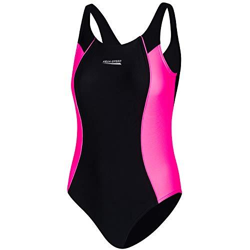 Aqua Speed Badeanzug Schwimmen Mädchen | Sport Schwimmanzug für Kinder mit UV-Schutz | Swimsuit | Wettkampf Mädcheneinteiler | Schwimmen | Baden | Schwarz-Violett | Gr. 146 cm | Luna