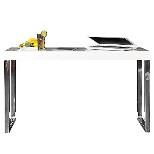 Design Laptop Table Bureau blanc brillant 120 cm