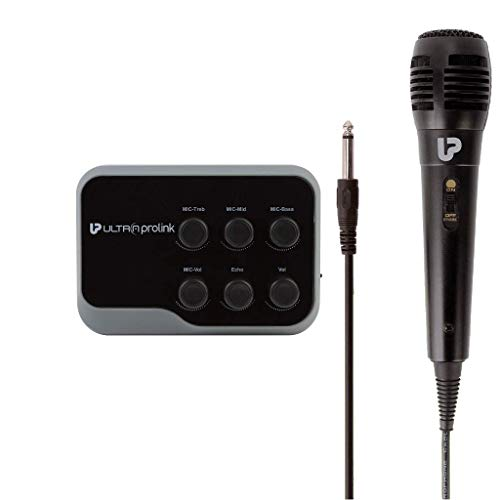 UltraProlink UM1002 Sing Along Karaoke Bluetooth Mixer with Karaoke Microphone & Bluetooth Receiver Amplifier with Echo for Mobile Phones