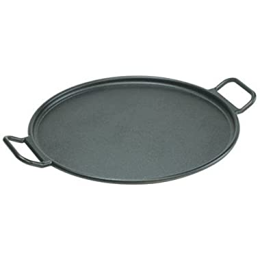Lodge 14 Inch Cast Iron Baking Pan. Pre-Seasoned Round Baking Pan with Dual Loop Handles for Pizza or Baking