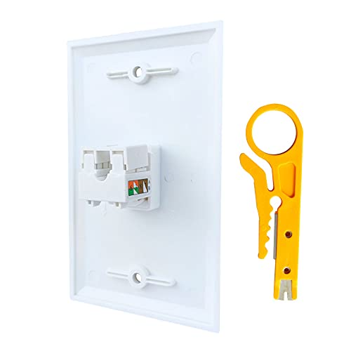 BOPLAT 1 Port CAT 6 Ethernet Punch Down Jack Wall Plate Wire to Female with Tool - Single Gang 90 Degree Cat6 RJ45 Keystone Jack Punchdown Cover Plate for Round CAT7/CAT6/CAT5e Network Cable in White