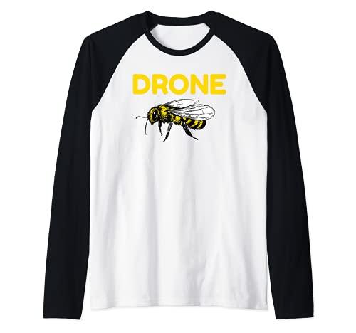 Drone Abejas Piloto Quadcopter RC Apicultura Miel Apicultor Camiseta Manga Raglan
