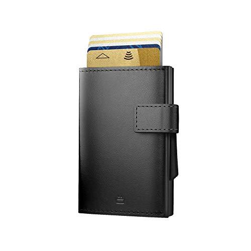 Ögon Smart Wallets - Cascade Wallet Automatischer Kartenetui Brieftasche für 8 Karten und Banknoten, RFID-Blockierung - Leder und Aluminium (Voll Schwarz)