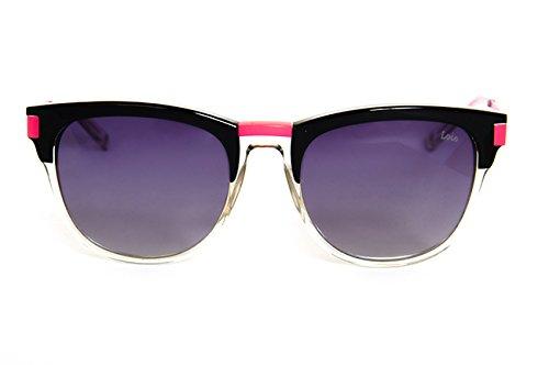 Lois - Lupix BLK Black, Gafas de Sol Moda Unisex Pasta, Negro Rosa/Gris Degradado Polarizada unisex Wayfarer polarizado Gris
