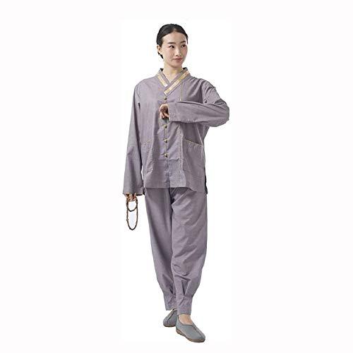 LINGS Trajes de Taichi Mujeres Kung Fu Uniforme Tradicional Juego de la Espiga de Artes Marciales Ropa se Adapta a la meditación de la Yoga,L