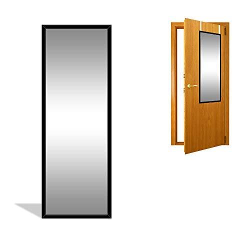 DRULINE Türspiegel Wandspiegel Garderobenspiegel Spiegel zum einhängen Ganzkörperspiegel Ankleidespiegel Dekoration türspiegel mit haken | 34cm x 94 cm x 1.5 cm | mit Rückwand F0016080 Facettenspiegel FRG129 Badspiegel Flurspiegel Barspiegel 7 Farben Rahmen Schwarz