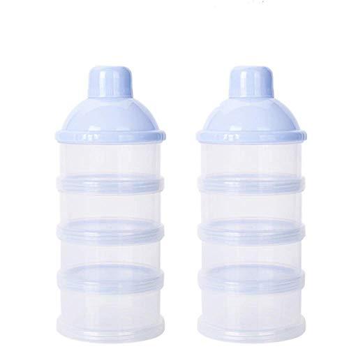 4 Schicht Milch Pulver Spender, Formel Milchpulver-Portionierer,Säuglingsnahrung Kasten,Tragbare Milchkasten,Milchpulver-Portionierer,Milchpulver Box,Milchpulverspender(2 Stück ,BPA-frei) (Blau)