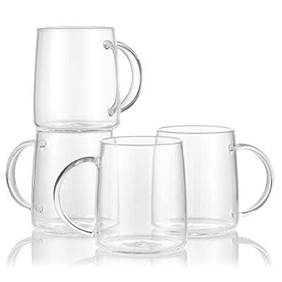 Enindel 3027.01 Simple Style Glass Coffee Mug, Tea Cup, Clear, 15 OZ, Set of 4