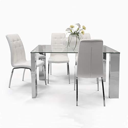 Homely - Conjunto de Comedor Karina II Mesa de 140x90 cm de Cristal y Acero Pulido y 4 sillas de Polipiel y Patas de Acero Cromado (Blanco)