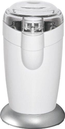 Elektrische Kaffeemühle mit Edelstahl Schlagmesser, Kräftiger 120-Watt-Motor, Sicherheitsschaltung, Edelstahl Bohnenbehälter, Weiss, NEU + OVP