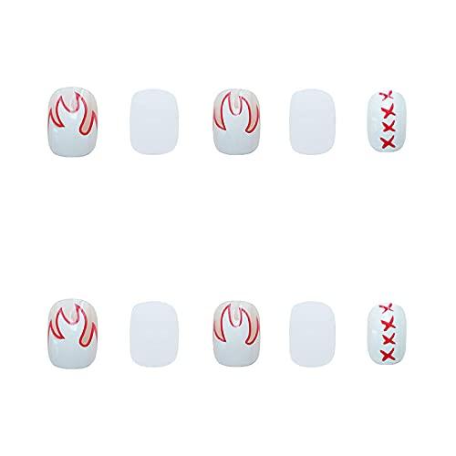 Faux ongles 24pcs Blanc Flamme Imprimé Ongles Patch avec design Courte couverture complète Amovible Mode Manucure Faux Ongles Patch